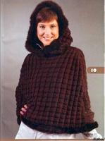 Описание: выкройки пончо из ткани с капюшоном.
