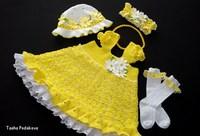 """Вязанное платье для девочки.  Комплект  """"Мамино Солнышко """": платье, панамка, повязочка, носочки"""